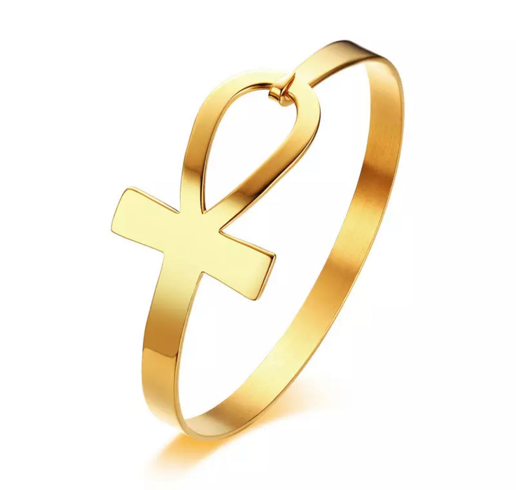"Bracelet Femme "" Queen Ankh "" Couleur Or 