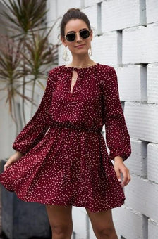 Mini Robe Boho à Pois Minute Mode Rouge L