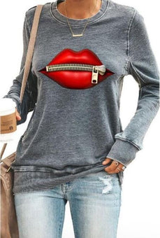 "Sweat à Manches Longues ""RED LIPS"" Minute Mode Gris M"