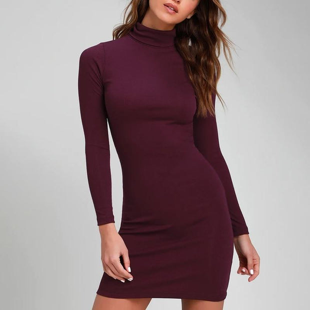 Robe Pull Col Roulé Minute Mode Bordeaux S