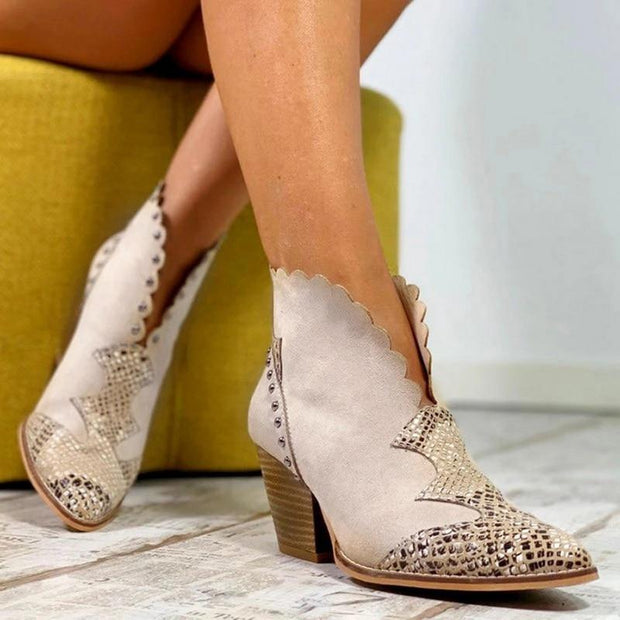 Bottines Retro Feminines Minute Mode Beige 35
