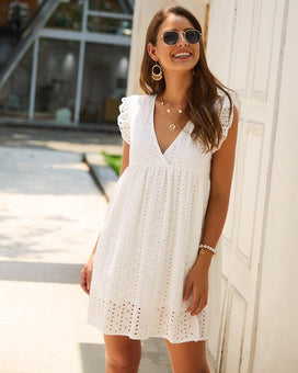 Robe BOHO Col V Minute Mode Blanc XL