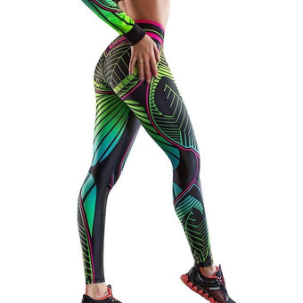 Leggings Yoga Imprimé Floral Site Vêtements Vert S