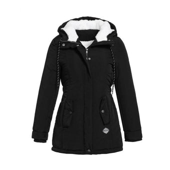 Parka Unie Mi-long Site Vêtements Noir S
