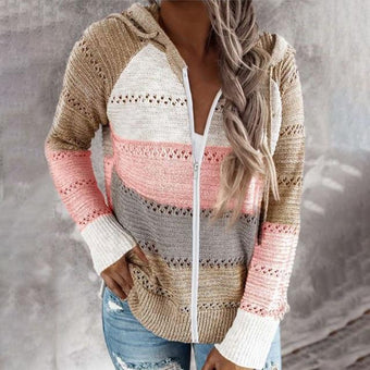 Cardigan zippé multicolore Minute Mode Rose M