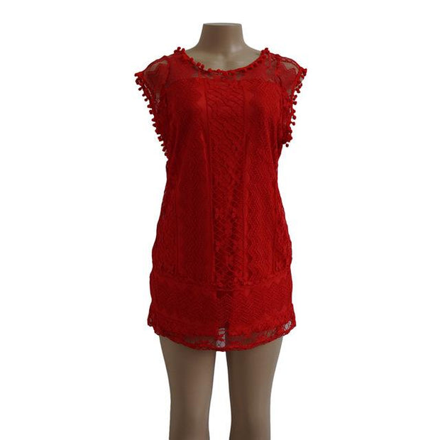 Robe casual en dentelle Minute Mode Rouge L