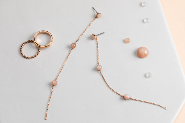 peach moonstones on rose gold tone