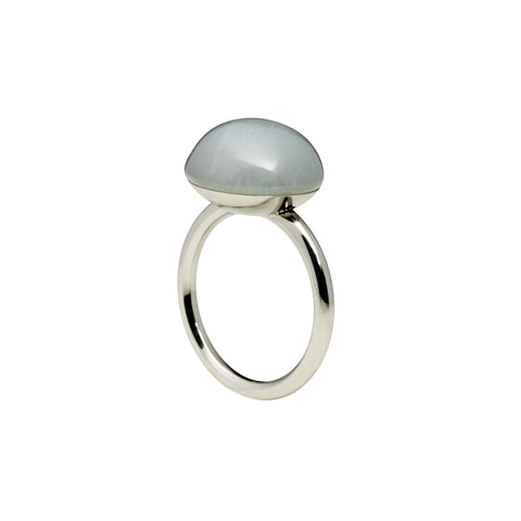 Large grey moonstone ring silver tone