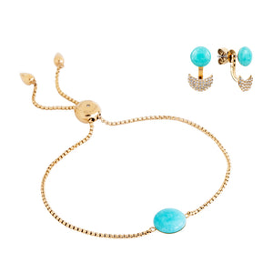 Gift set: adjustable blue amazonite bracelet and earrings