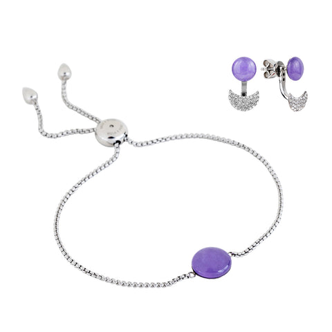 Gift set: adjustable lavender quartzite bracelet and earrings