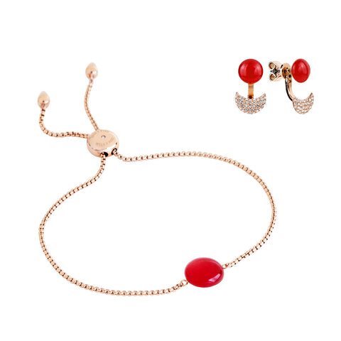 Gift set: adjustable red quartzite bracelet and earrings