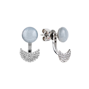 Lunar adjustable grey moonstone earring