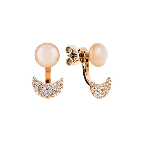 Lunar adjustable peach moonstone earring