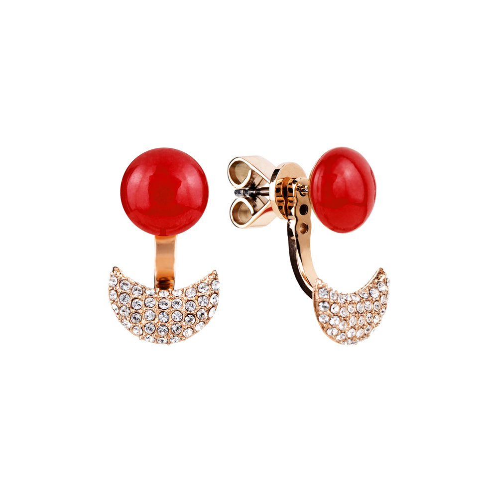 Lunar adjustable red quartzite earring