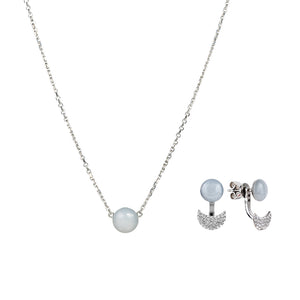 Gift set: adjustable grey moonstone necklace and earrings