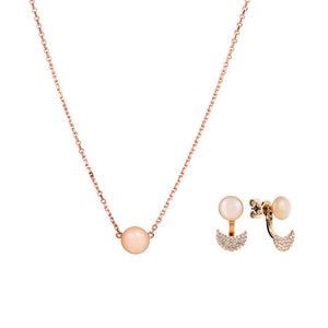 Gift set: adjustable peach moonstone necklace and earrings