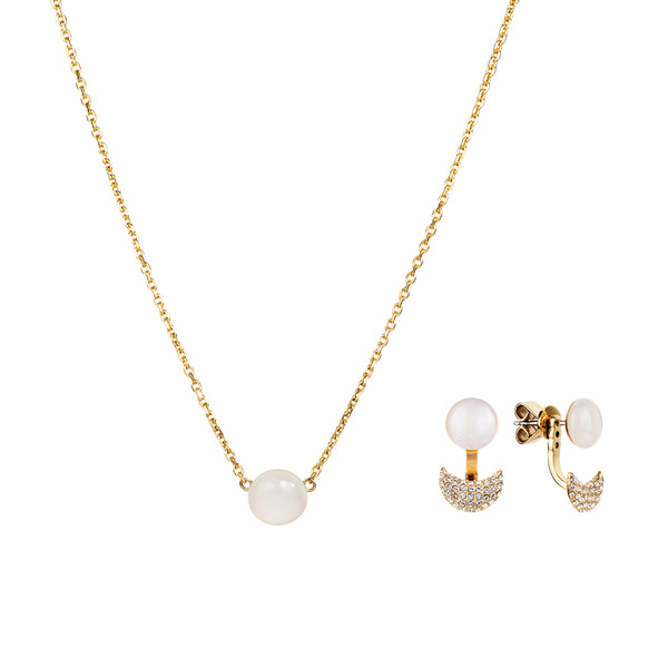 Gift set: adjustable white moonstone necklace and earrings