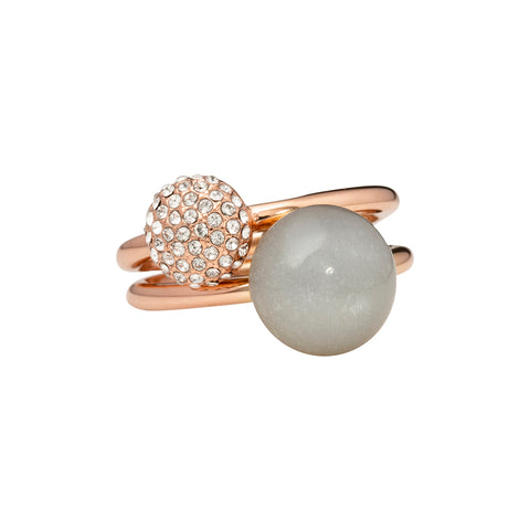 Grey moonstone and pavé - two rings set - rose gold tone
