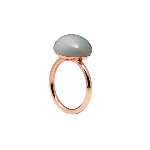 Large grey moonstone ring rose gold tone