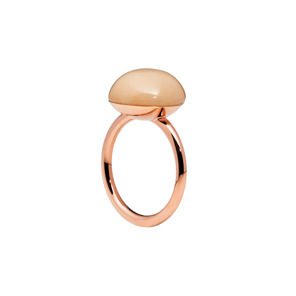 Large peach moonstone ring rose gold tone
