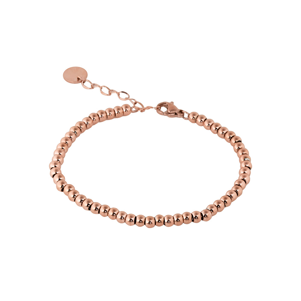 Metal ball beaded bracelet rose gold tone