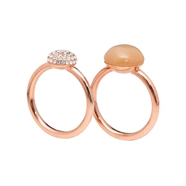 Peach moonstone and pavé - two rings set - rose gold tone