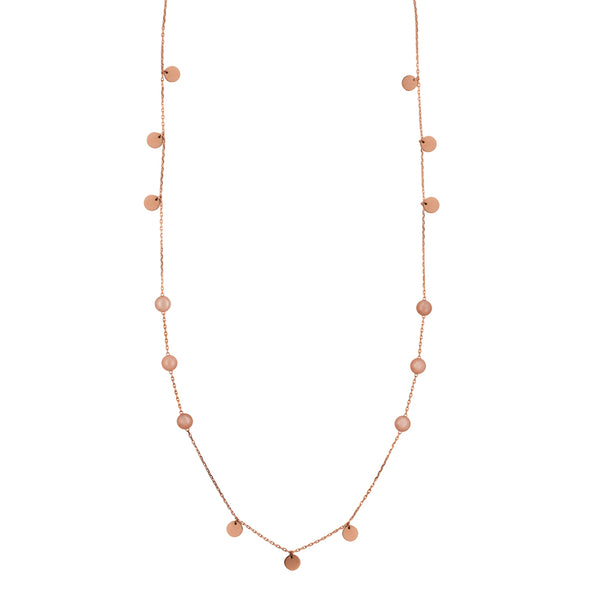 Peach moonstone double wrap necklace in rose gold tone