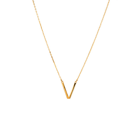 V pendant necklace gold tone