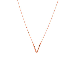 V pendant necklace rose gold tone