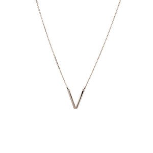 V pendant necklace silver tone