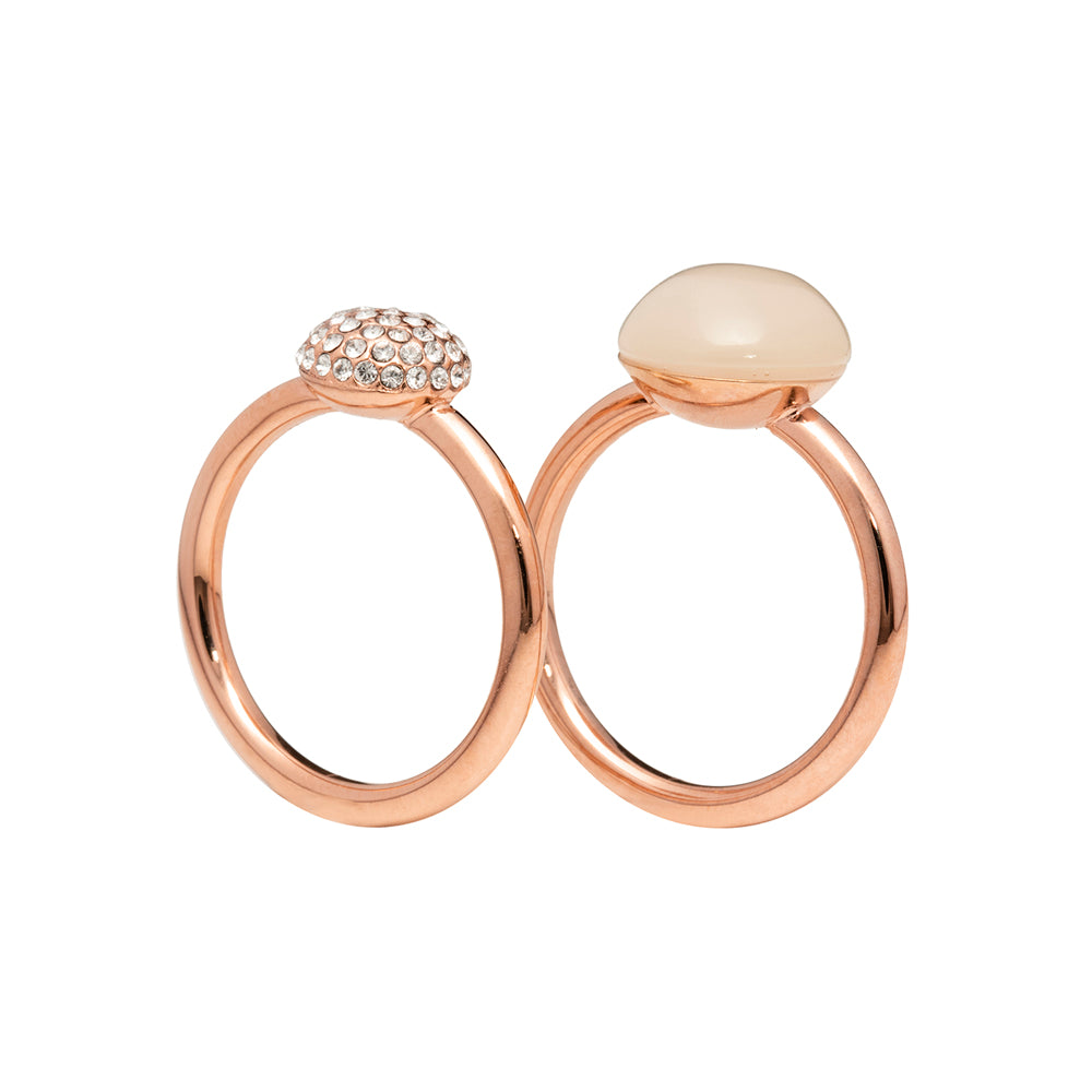 White moonstone and pavé - two rings set - rose gold tone