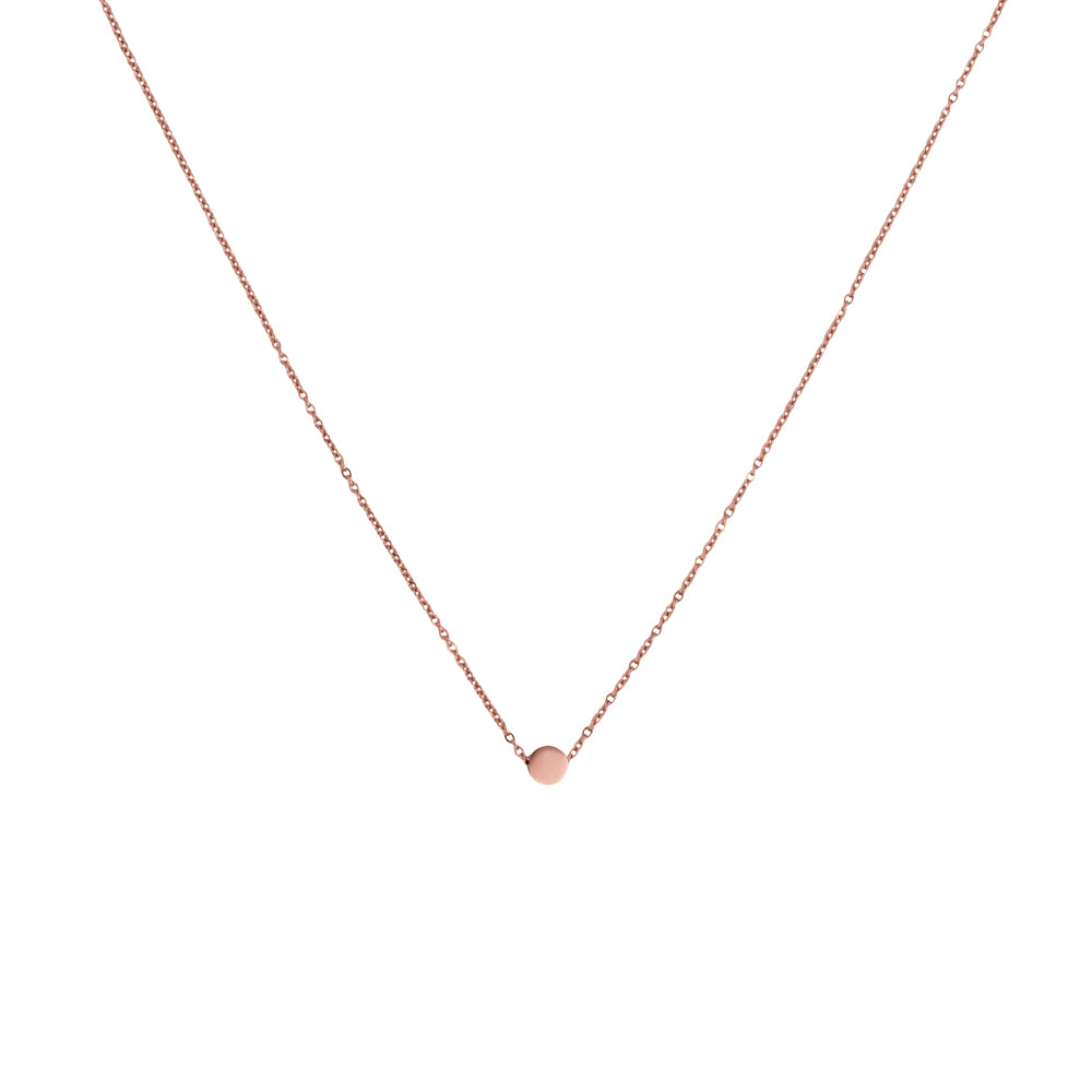 Tiny disc pendant necklace rose gold tone