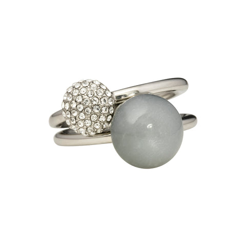 Grey moonstone and pavé - two rings set - silver tone