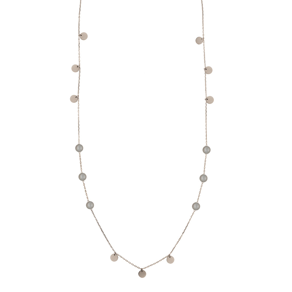 Grey moonstone double wrap necklace