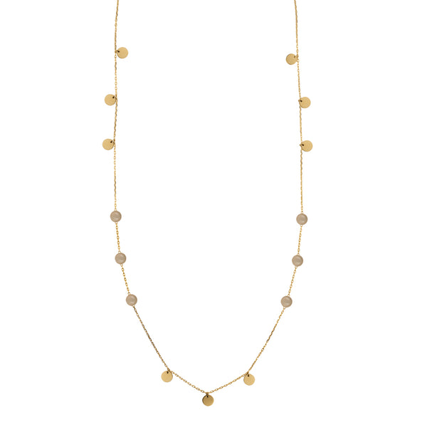 White moonstone double wrap necklace in gold tone