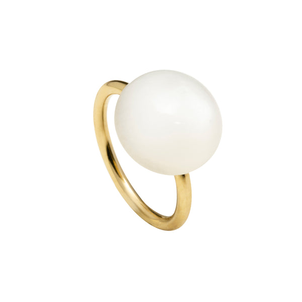 Large white moonstone ring gold tone