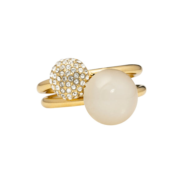 White moonstone and pavé - two rings set - gold tone