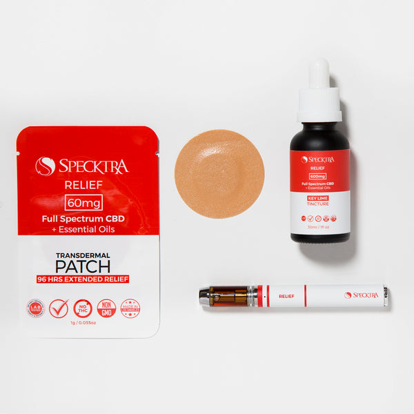relief bundle to relax: CBD tincture, patch and vape