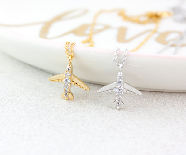 Airplane Necklace with Cubic Zirconia - Gold or Silver