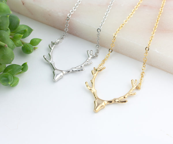 Deer Antler Necklace - Gold or Silver