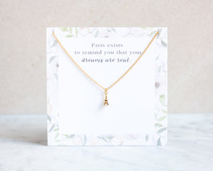 Eiffel Tower Necklace with Cubic Zirkonia in gold, silver and rose gold