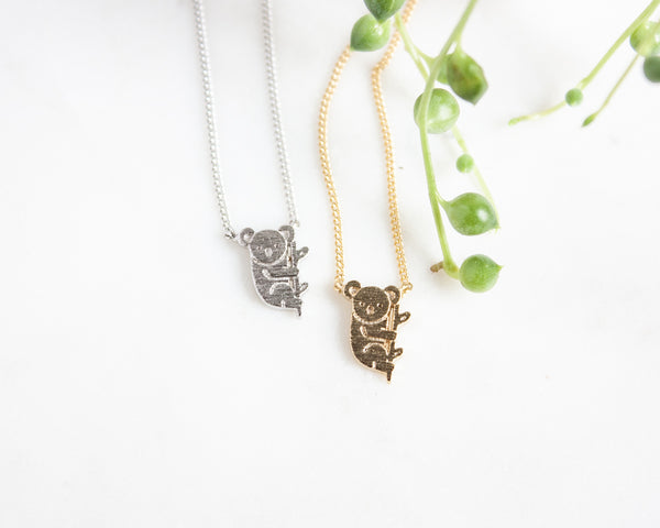 "Koala Necklace ""I miss hanging out with you"" - gold or silver"