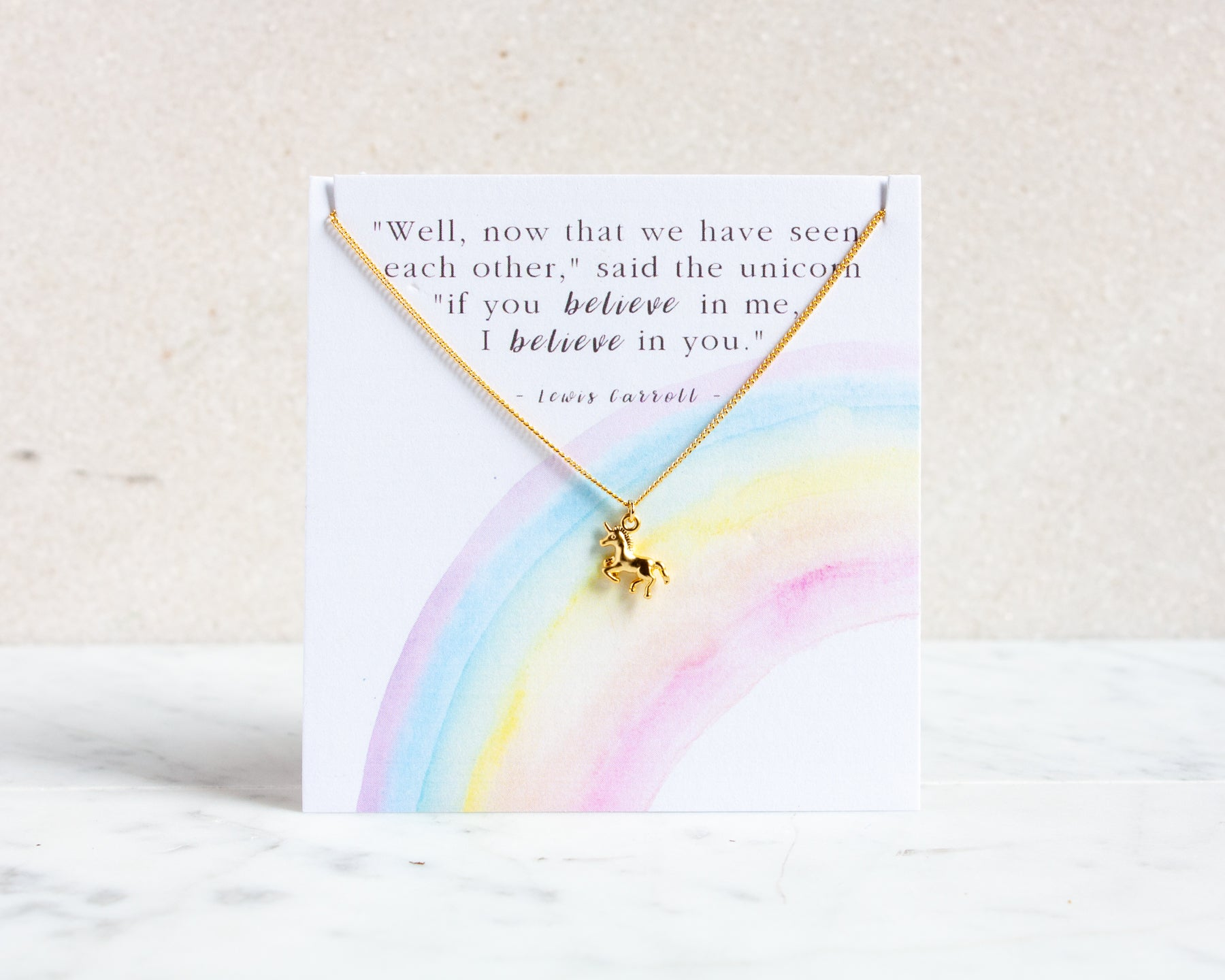 "Unicorn Necklace ""Believe in You"" - Gold, Silver or Rose Gold"