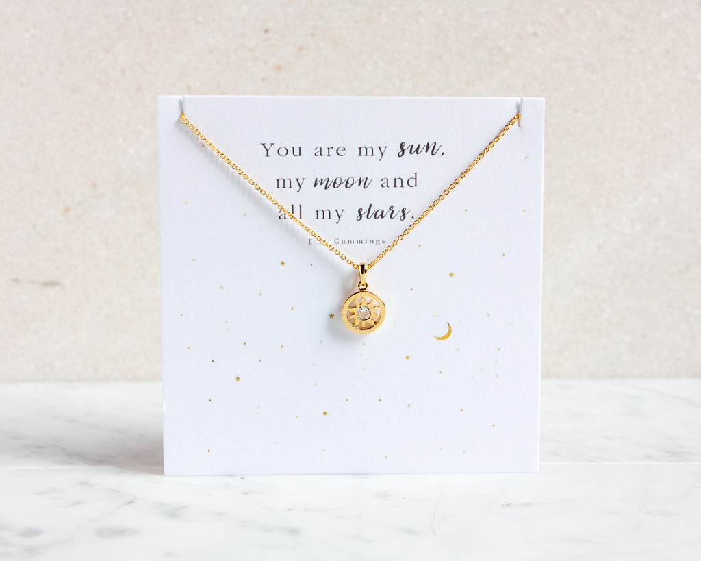 "Sun Necklace ""You are my sun, my moon and all my stars"" - Gold or Silver"