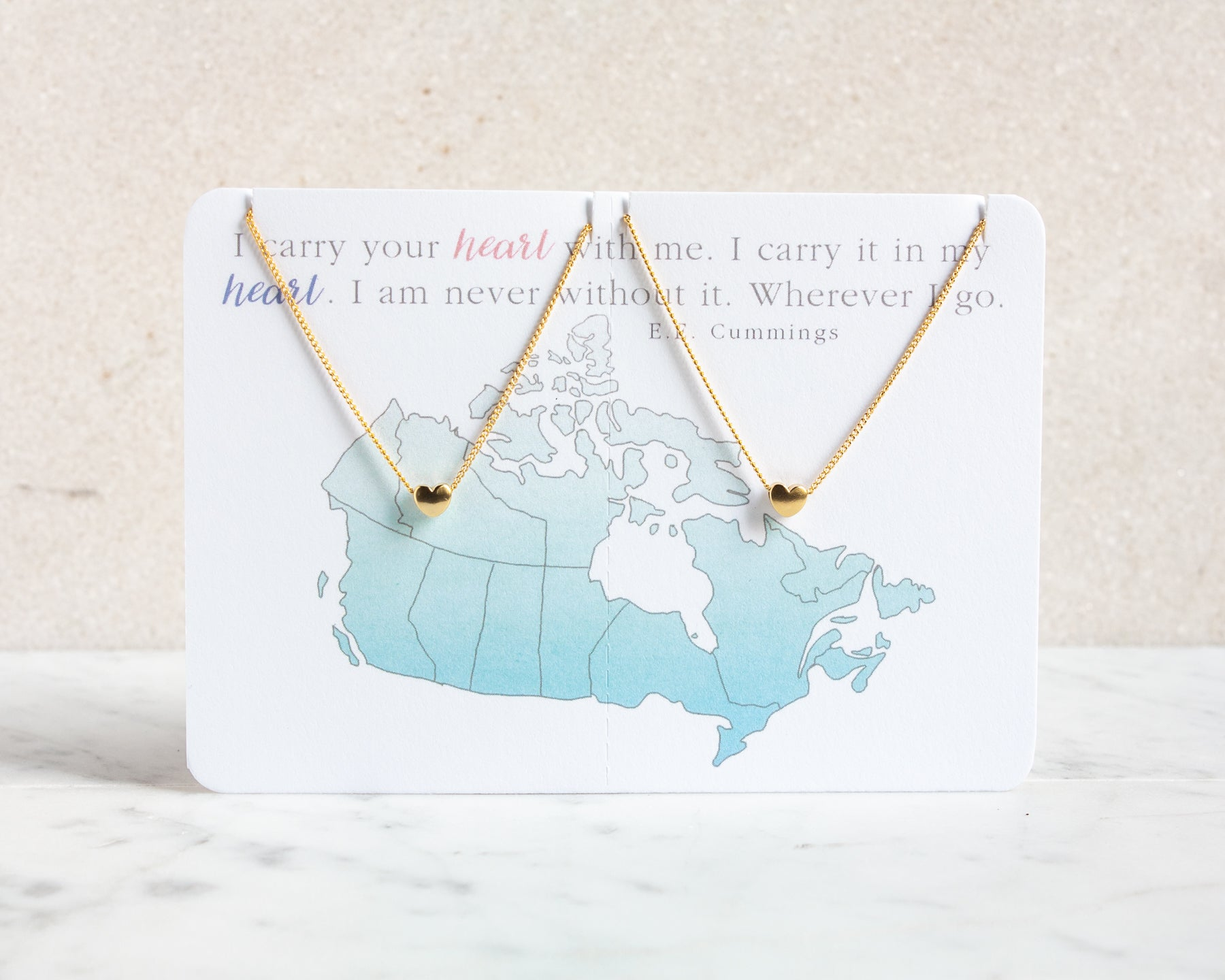 "Heart Necklace Set ""Canada"" - Long Distance Jewelry Gift"