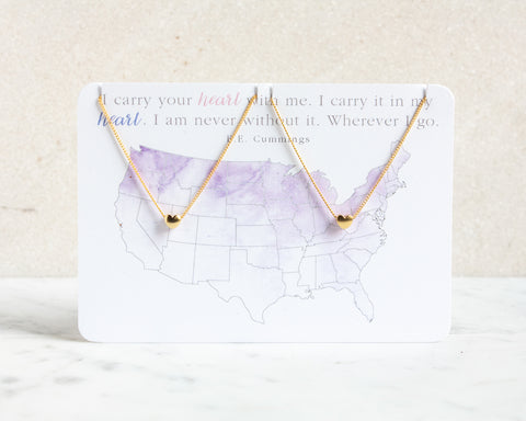 USA Map Heart Necklace Set