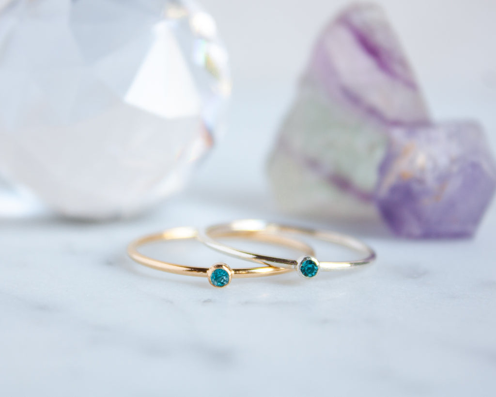 Aquamarine Ring, March Birthstone, Gold Filled or Sterling Silver