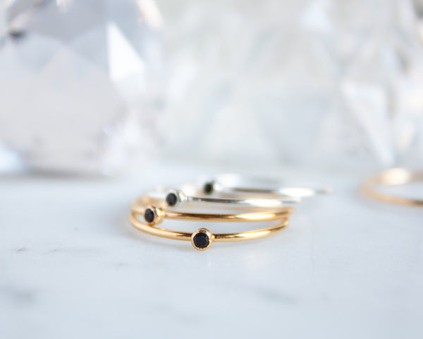 Black Onyx Ring, Gold Filled or Sterling Silver Stacking Ring