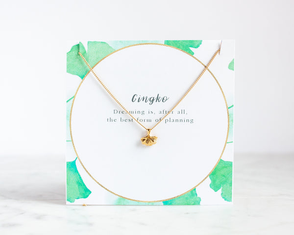 Ginkgo Necklace - Gold or Silver