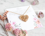 Handmade Locket Necklace on personalized card